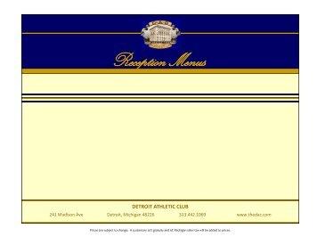 Reception Menus - Detroit Athletic Club