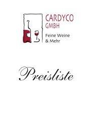 Preisliste Weine, Weinzubehör, Sekt und Champagner, Spirituosen