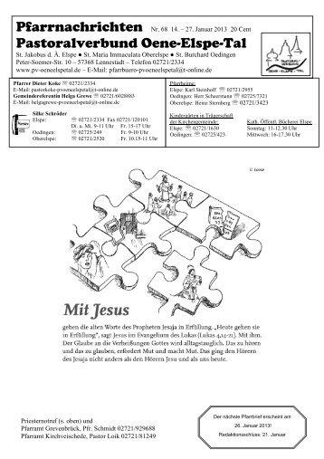 pfarrnachrichten 68 - Pastoralverbund Oene Elspe Tal