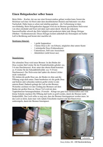 Einen Holzgaskocher selber bauen