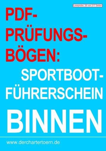 PDF-Prüfungsbögen Sportbootführerschein Binnen zum ... - Logbuch
