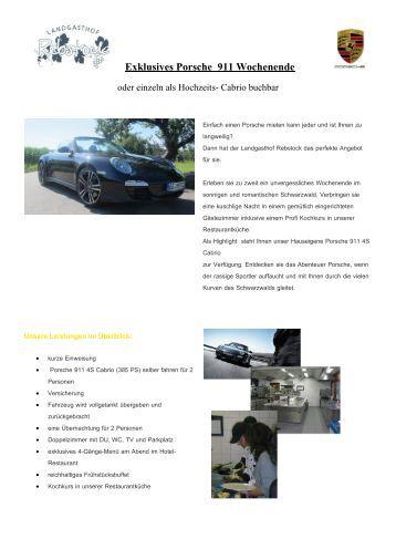 Exklusives Porsche 911 Wochenende - Landgasthof Rebstock