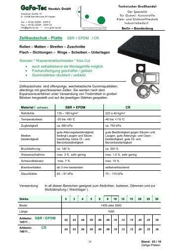 Zellkautschuk - Platte SBR + EPDM / CR - GaFa Tec Handels GmbH