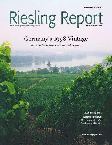 Germany's 1998 Vintage - Riesling Report