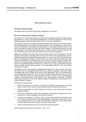 Niedersächsischer Landtag - 16. Wahlperiode Drucksache 16/4099 ...
