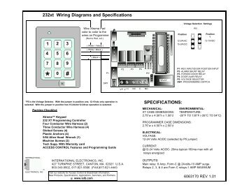 SPECIFICATIONS: 232xt Wiring Diagrams and ... - Linear