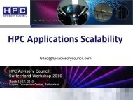 Large scale applications scalability - HPC Advisory Council