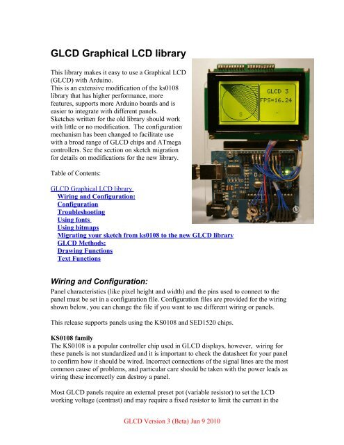 GLCD Graphical LCD library - Arduino Playground