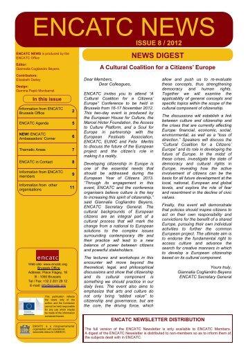 ENCATC Newsletter 2012 - Issue N8 - DIGEST