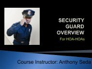 Course Instructor: Anthony Seda - All Purpose Security