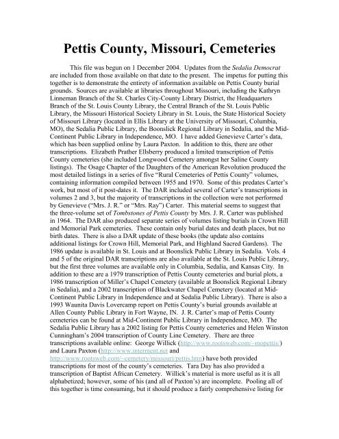 Pettis County, Missouri, Cemeteries - The Cousin Collector