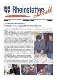 """Einblicke in das """"Gedächtnis"""" Rheinstettens - Stadt Rheinstetten"""