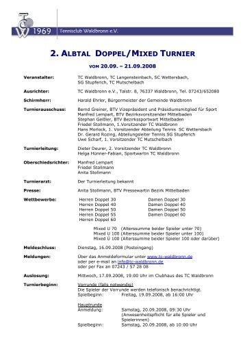 LBTAL DOPPEL /MIXED TURNIER - TC Waldbronn