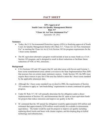 Fact Sheet - US Environmental Protection Agency