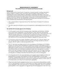 Memorandum of Agreement - The United Church of Canada