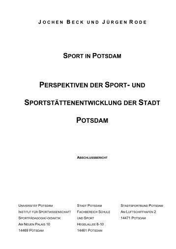 Deckblatt Sportentwicklung Potsdam - Dr. Jochen Beck