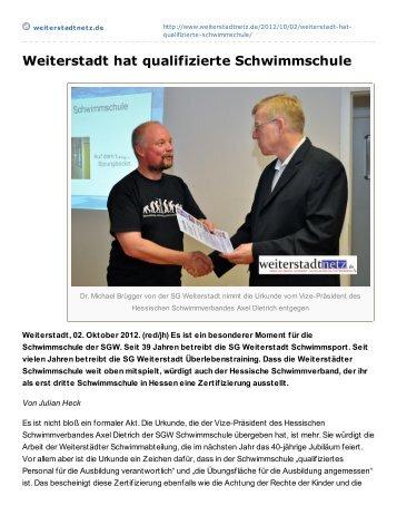 Weiterstadt hat qualifizierte Schwimmschule - SG Weiterstadt