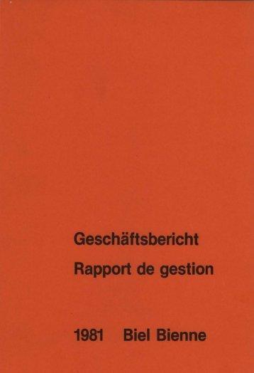 Geschäftsbericht der Stadtverwaltung Biel 1981 - Stadt Biel