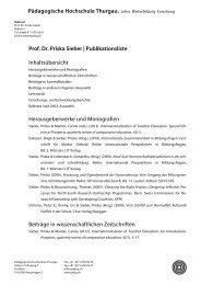 Prof. Dr. Priska Sieber - Pädagogische Hochschule Thurgau