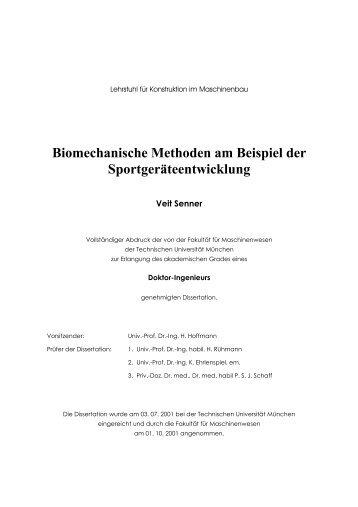 Biomechanische Methoden am Beispiel der Sportgeräteentwicklung