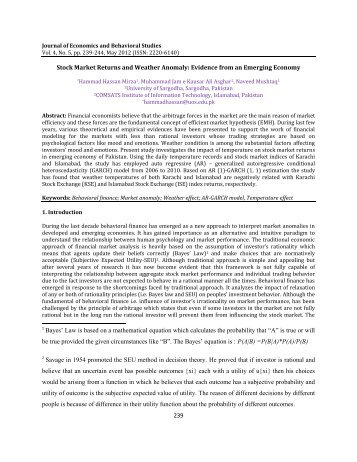 239 Stock Market Returns and Weather Anomaly: Evidence ... - ifrnd
