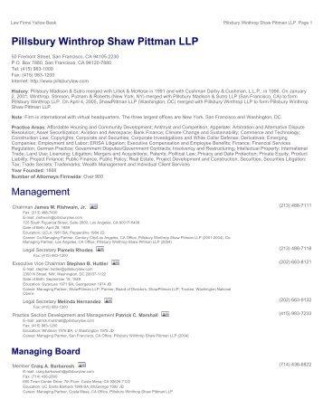 Pillsbury Winthrop Shaw Pittman LLP - Leadership Directories