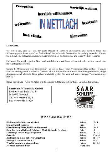 wo finde ich was? - Saarschleife Touristik GmbH - Gemeinde Mettlach