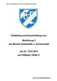 Einladung und Ausschreibung zum Bezirkscup 2 der Bezirke ...