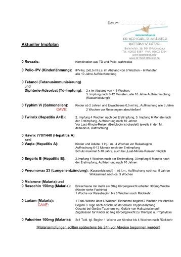 Aktueller Impfplan - Dr. med. Karl R. Schuster