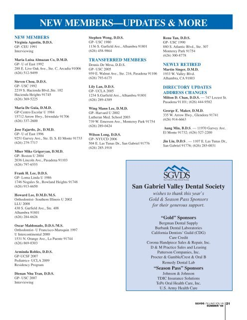 SGVDS-Summer NL '08-A - San Gabriel Valley Dental Society
