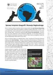 Numer 5 (7) - maj 2011 - Instytut Geografii i Rozwoju Regionalnego