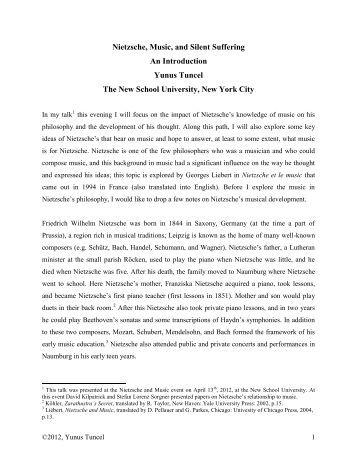 Nietzsche, Music, and Silent Suffering An ... - Nietzsche Circle