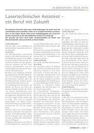 Lasertechnischer Assistent – ein Beruf mit Zukunft - Laser Magazin