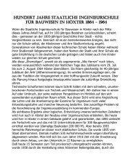 Hundert Jahre Staatliche Ingenieurschule für Bauwesen in Höxter ...
