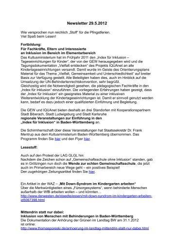 Newsletter 29.5.2012 - inte-hdh.de