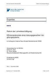 Gutachten des Institut der Deutschen Wirtschaft (IW)
