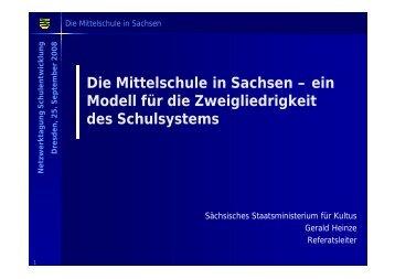 Die Mittelschule in Sachsen - Netzwerk Schulentwicklung
