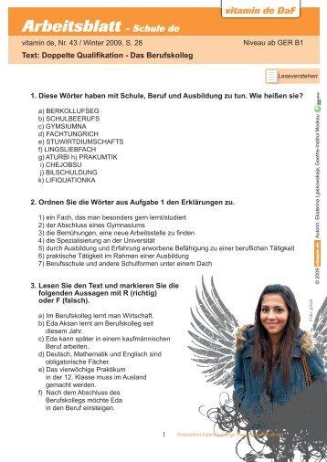 Arbeitsblatt - Thema Schule vitamin de DaF Arbeitsblatt - zum ...