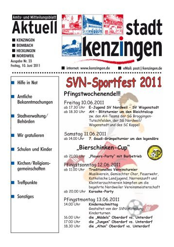 """Pfingstwochenende!!! """"Bierschinken-Cup"""" - Kenzingen"""