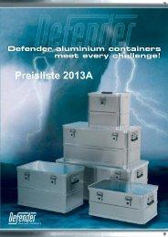 Galore Flightcase Defender Alu-Boxen Preisliste vers. 2013A