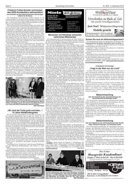Weihnachtsmarkt Gundelfingen.Seite 4 Gundelfinger Nach