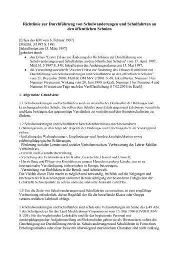 Richtlinie zur Durchführung von Schulwanderungen ... - CTS Gruppen