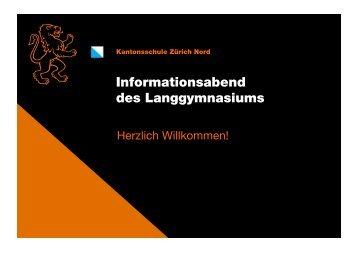 Informationsabend des Langgymnasiums - Kantonsschule Oerlikon