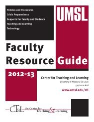 Center for Teaching and Learning www.umsl.edu/ctl - University of ...