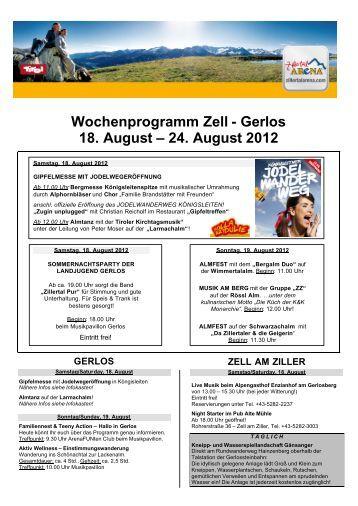 Wochenprogramm Zell - Gerlos 18. August – 24 ... - Zillertal Arena