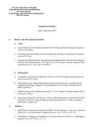 Prof. Dr. Hans-Horst Schröder Lehrstuhl für Betriebswirtschaftslehre ...