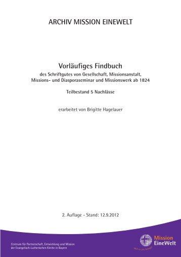 ARCHIV MISSION EINEWELT Vorläufiges Findbuch des ...