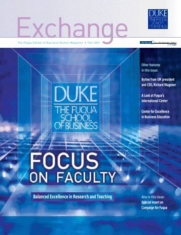 Balanced Excellence in Research and Teaching - Duke University's ...