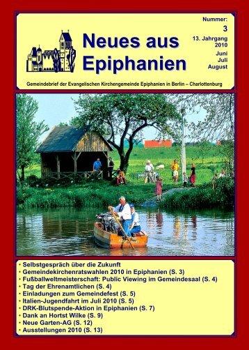 Juni bis August 2010 - Epiphanien