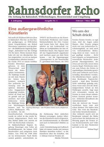 Ausgabe 09/01 - Februar / März 2009 - Bürger für Rahnsdorf